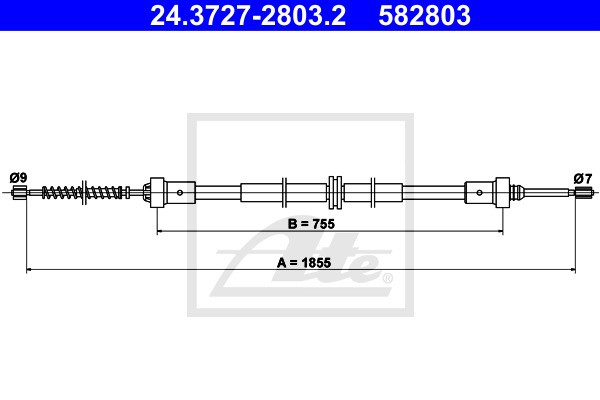 Cable, parking brake ATE 24.3727-2803.2