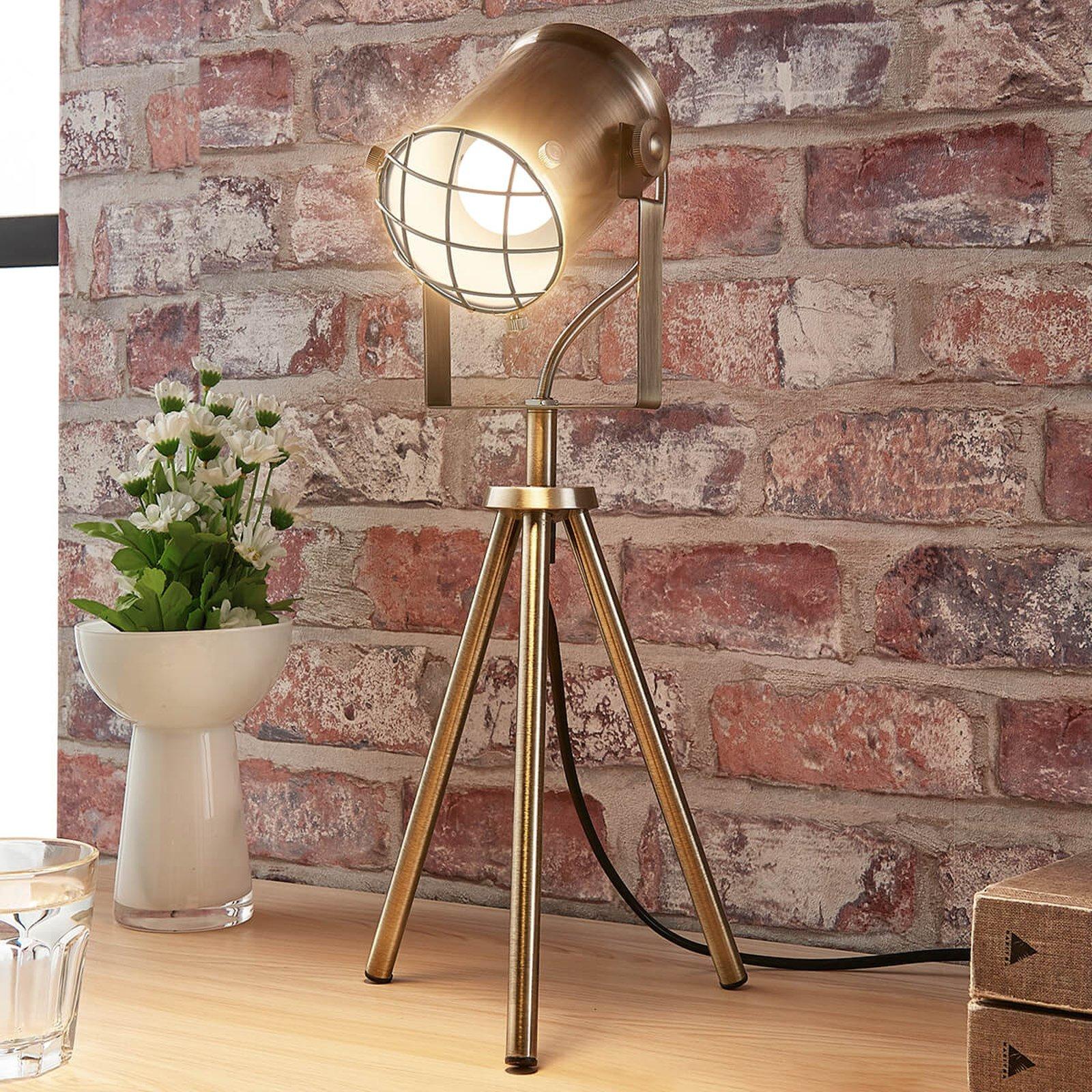 Bordlampe Ebbi i industriell stil, antikk messing