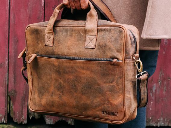 Leather Laptop Bag - Men Large Large