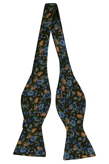 Ull Sløyfer Uknyttede, Brune, blå, gule og hvite blomster, Brun, Blomstermønster