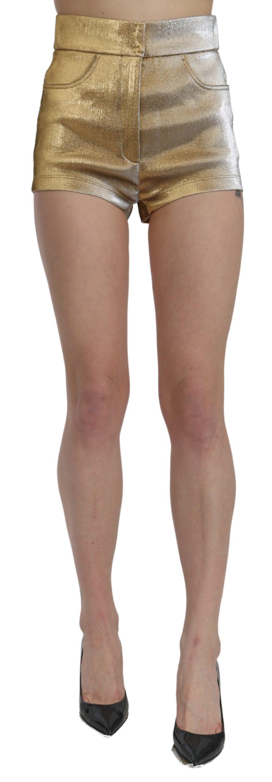 Dolce & Gabbana Women's High Waist Mini Hot Pants Cotton Shorts Gold SKI1440 - IT42|M