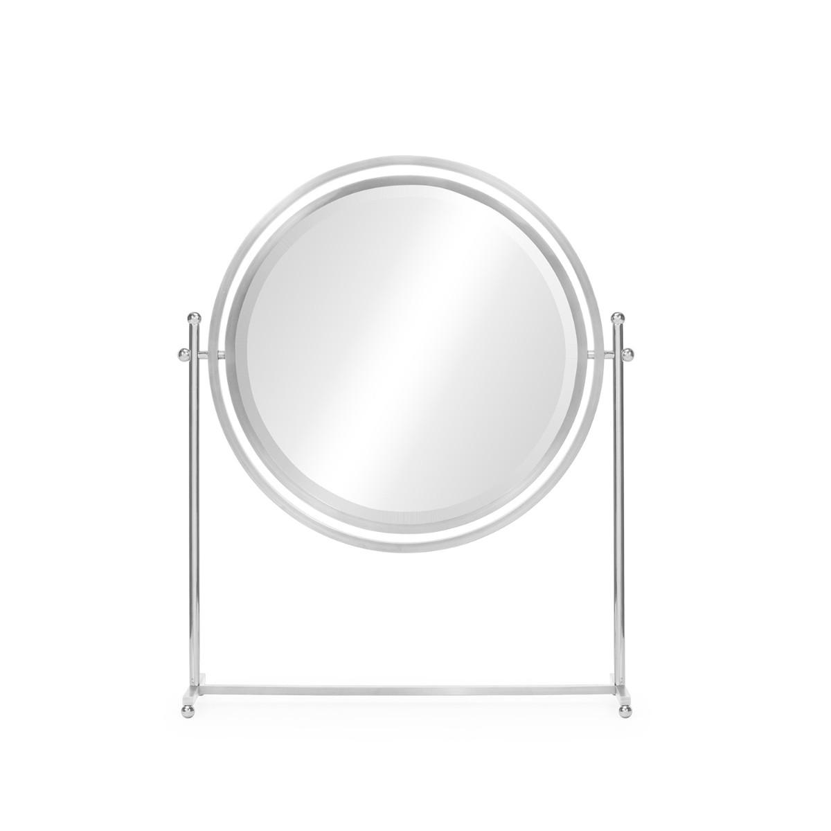 William Yeoward   Sandrine Round Tilt Dressing Mirror Nickel