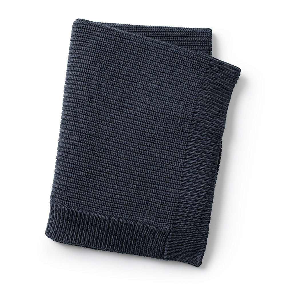 Wool Knitted Blanket - Juniper Blue