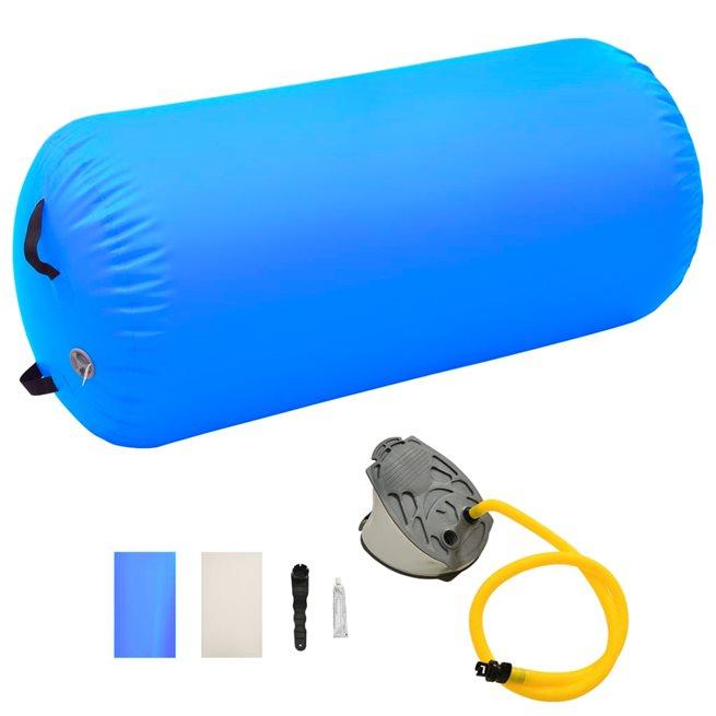vidaXL Uppblåsbar gymnastikrulle med pump 120x90 cm PVC blå