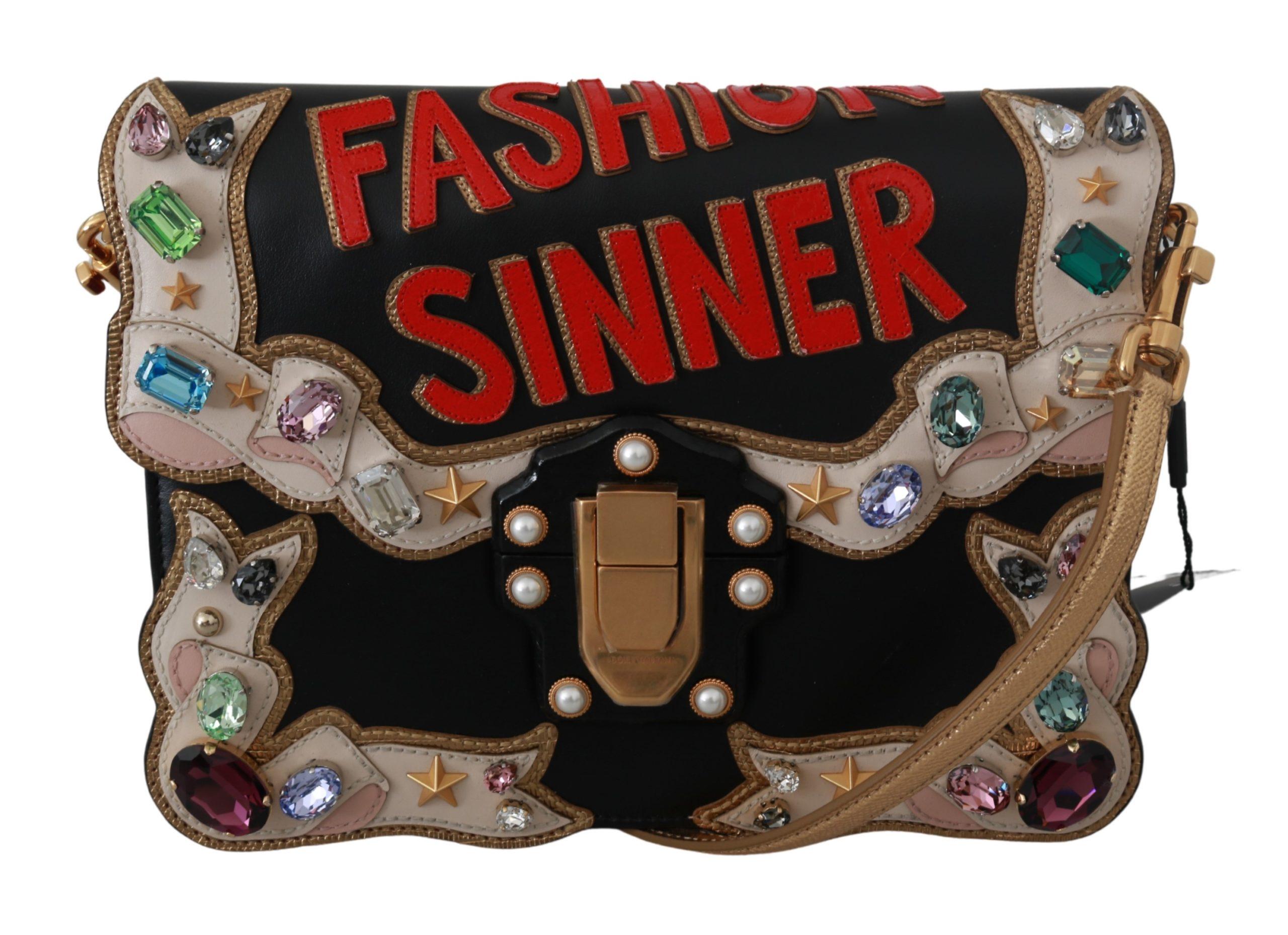 Black Leather Crystal Fashion Sinner Borse LUCIA Purse