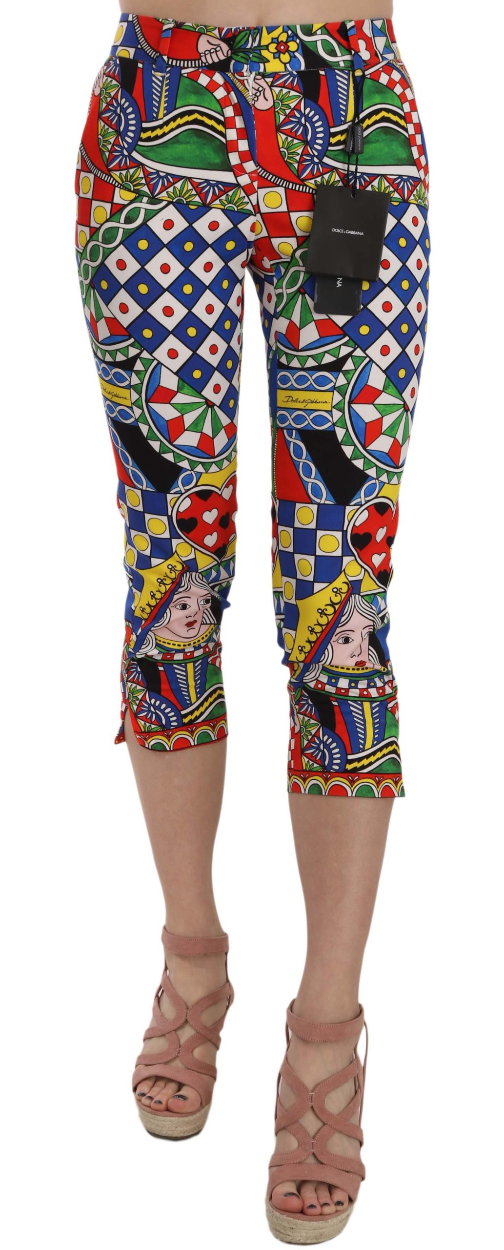 Dolce & Gabbana Women's Queen Of Hearts Print Cotton Capri Trouser Multicolor PAN70006 - IT36|XXS