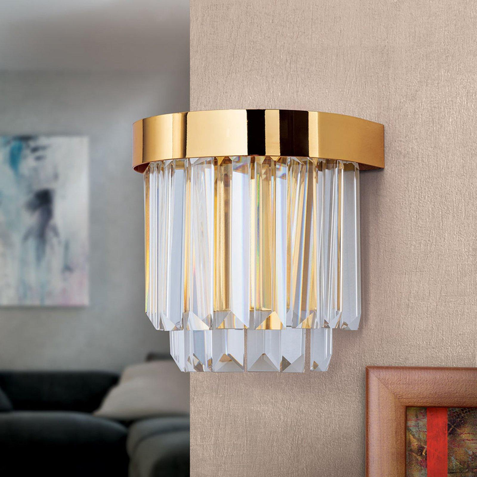 LED-vegglampe Prisme med up- & downlight, gull