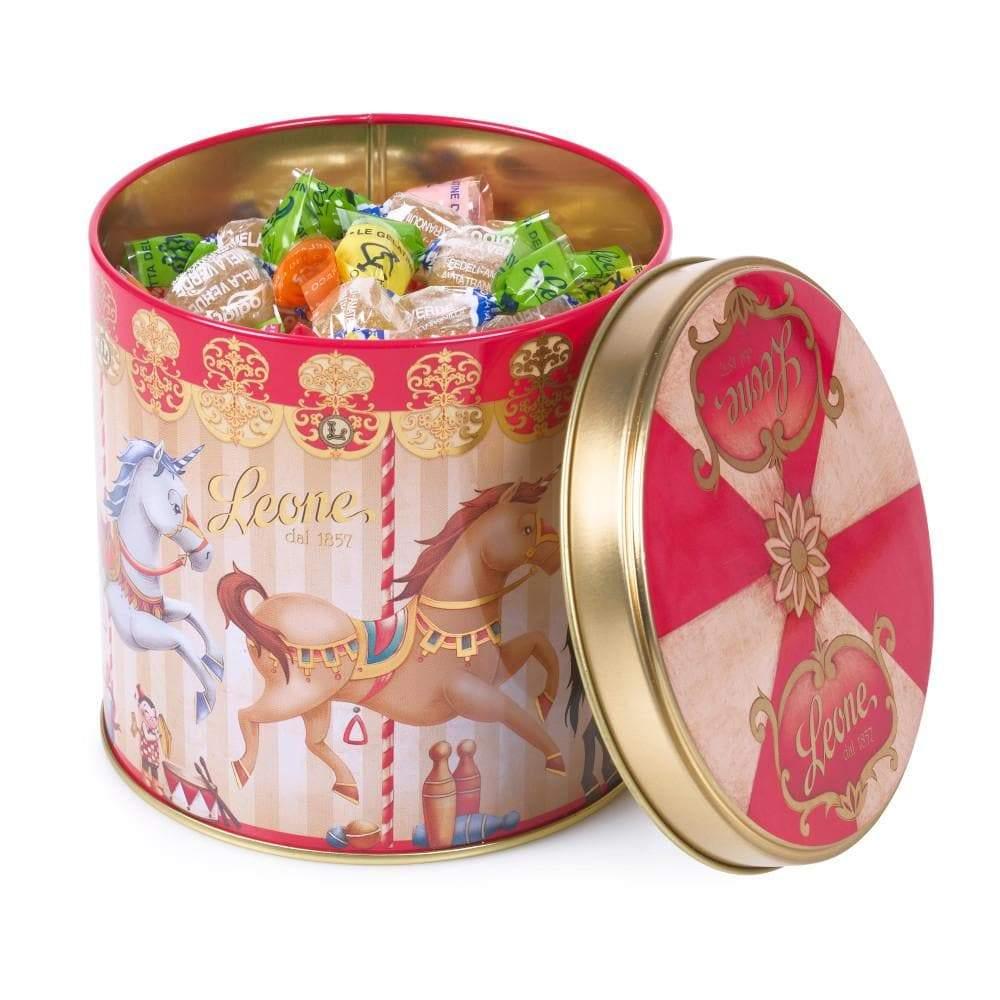 Jellies in Gold Unicorn Carousel Tin 150g by Leone
