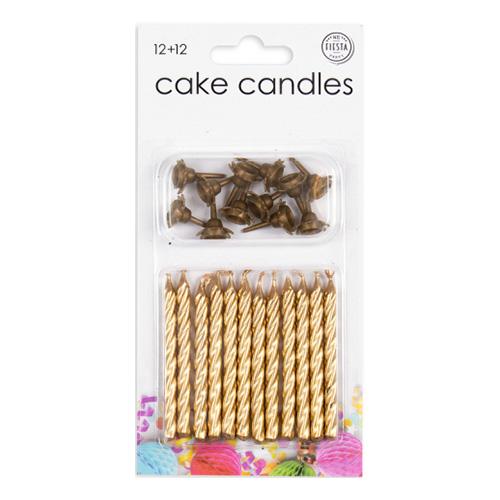 Tårtljus med Hållare Guld - 12-pack