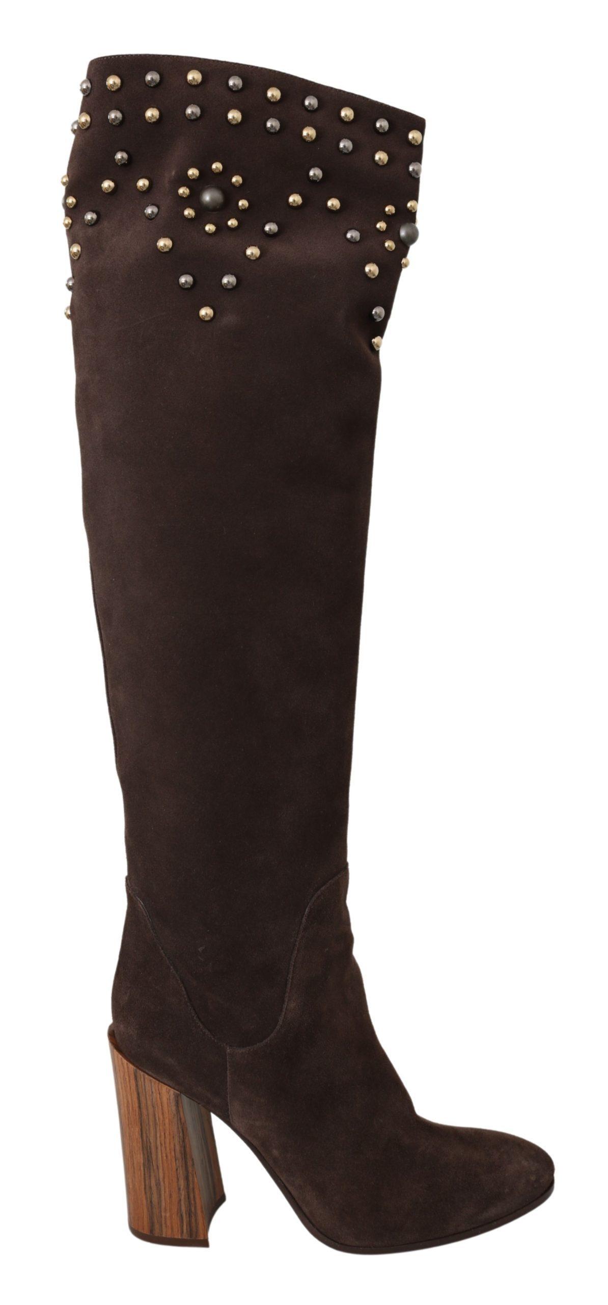 Dolce & Gabbana Women'sSuede Studded Knee High Boot Brown LA7086 - EU39/US8.5