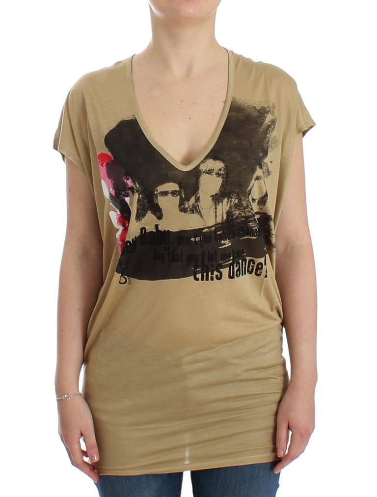 Costume National Women's Motive Print T-Shirt Beige SIG12528 - S