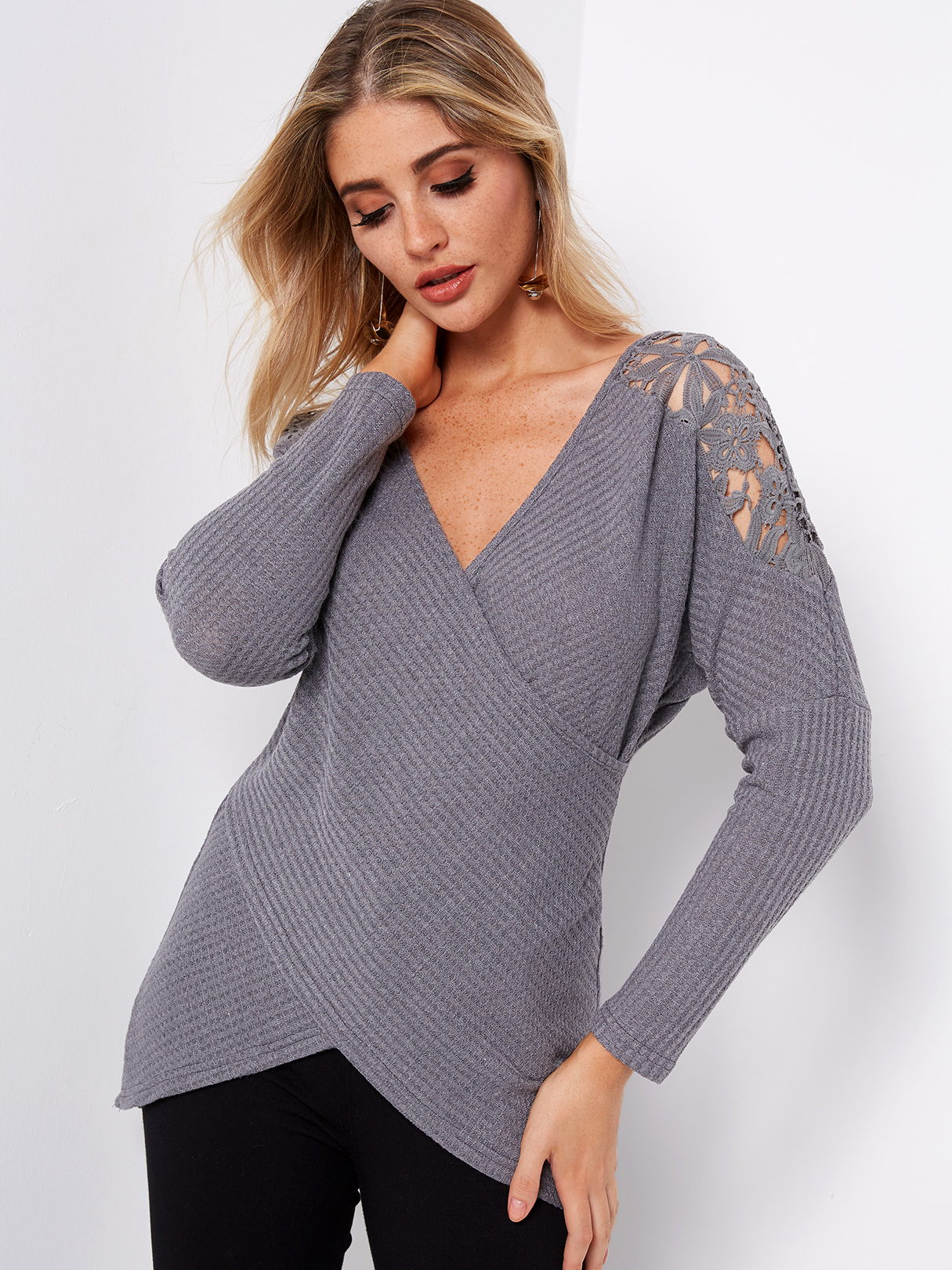 Grey Crossed Front Design Plain Deep V Neck Lace Insert Long Sleeves T-shirts