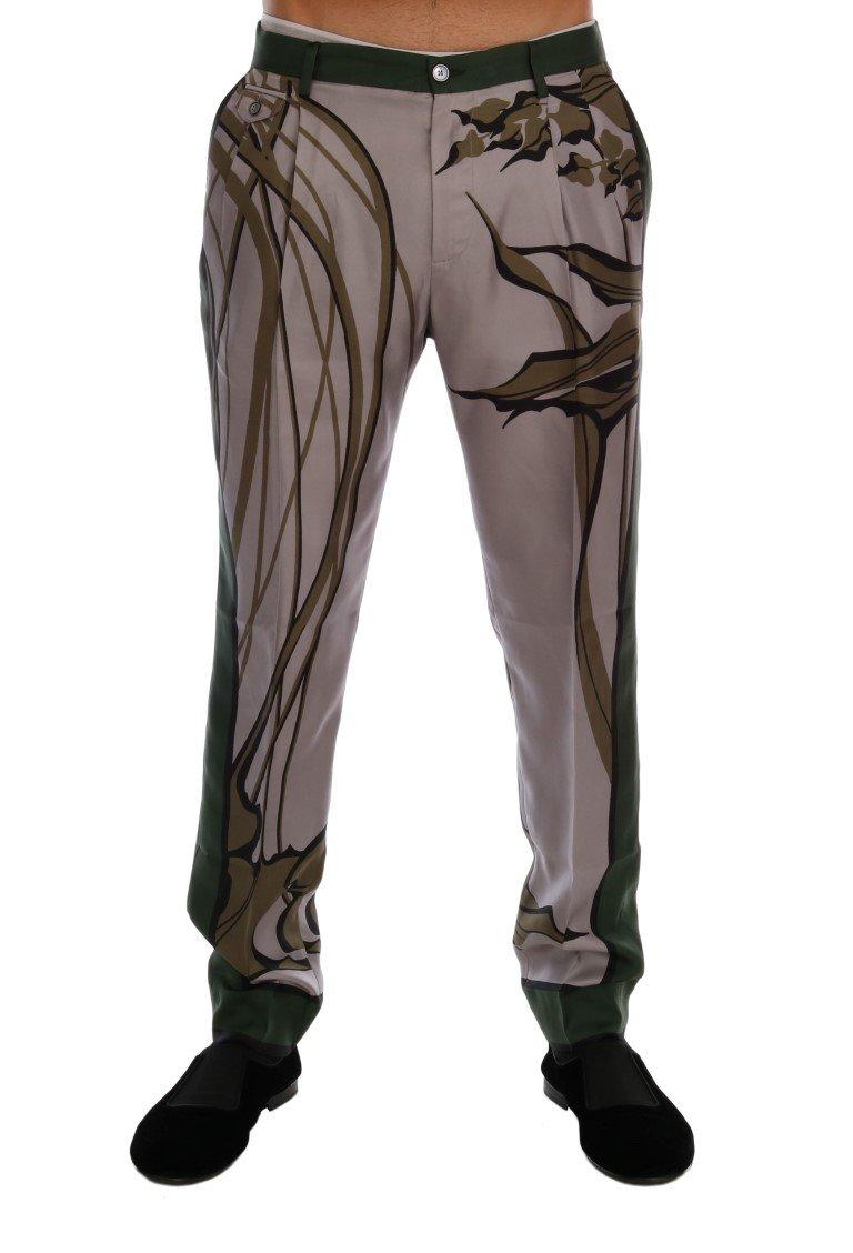 Dolce & Gabbana Men's Leaves Print Silk Dress Formal Pants Gray PAN60701 - IT44 | XS