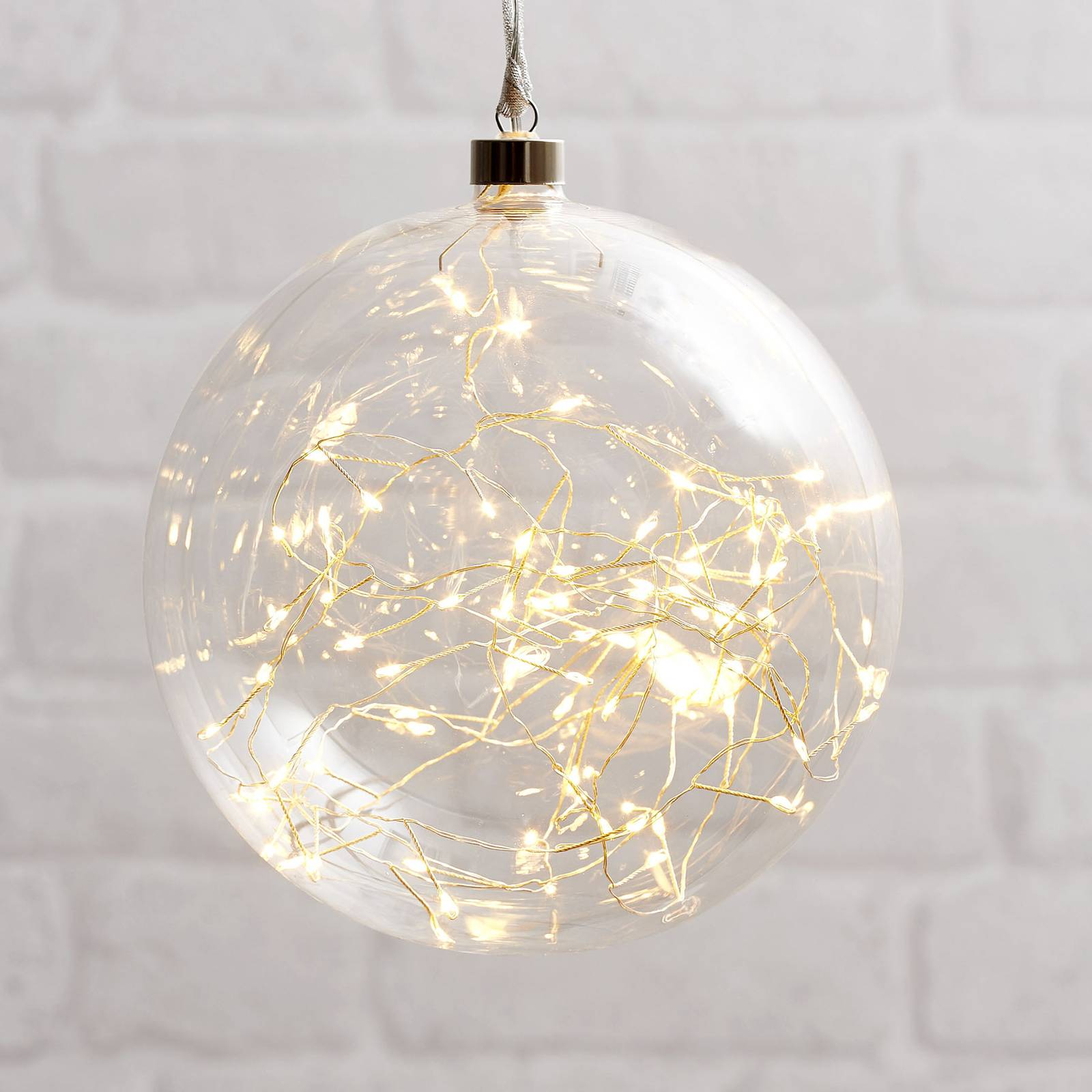Glow-LED-koristepallo lasia, Ø 20 cm kirkas