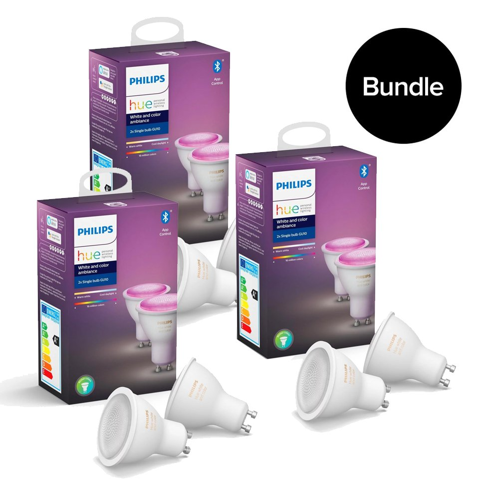 Philips Hue - 3xGU10 2-Pack (6 pcs in total) - Color Ambiance - Bluetooth - Bundle