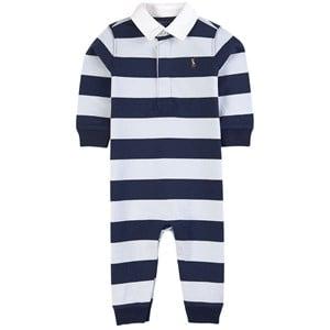 Ralph Lauren Navy Stripe Rugby Romper 3 mån