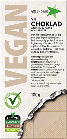 Green Star Vegan Vit Choklad 100g