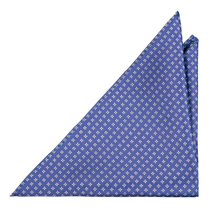 Silke Lommetørkler, Blå kyper med firkantete hvite blomster, Blå, Småmønstret
