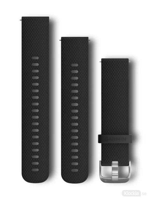 Garmin 20mm Svart silikonarmband med spännen i rostfritt stål