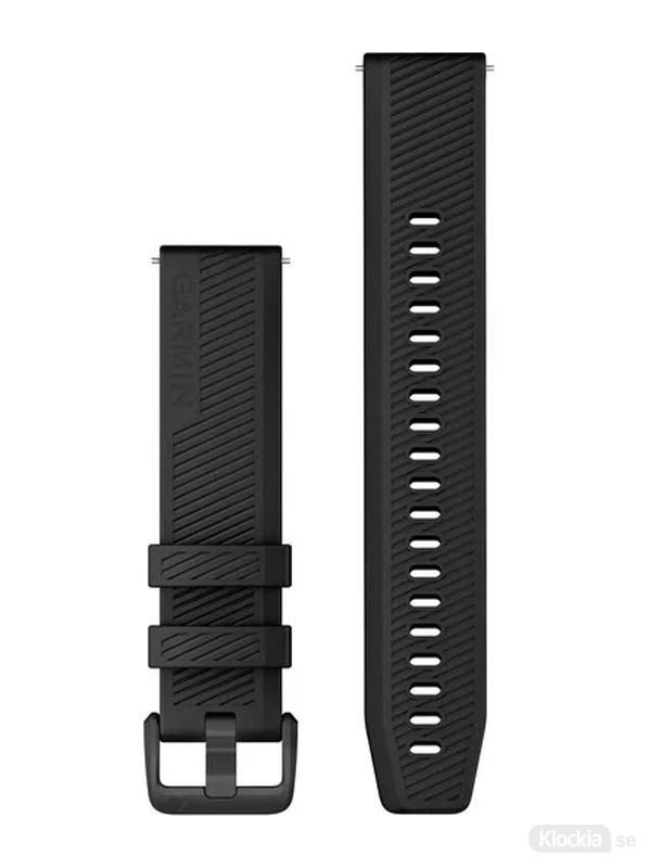 Garmin Armband 20mm med snäppspänne Svart med spännen i rostfritt stål