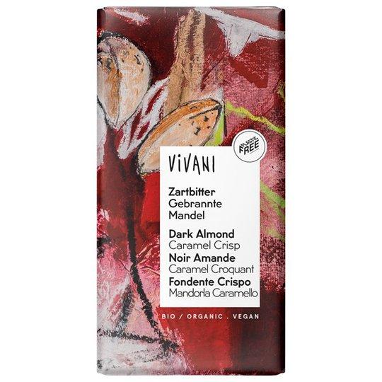 Vivani Ekologisk Mörk Choklad med Bränd Mandel & Karamell, 80 g