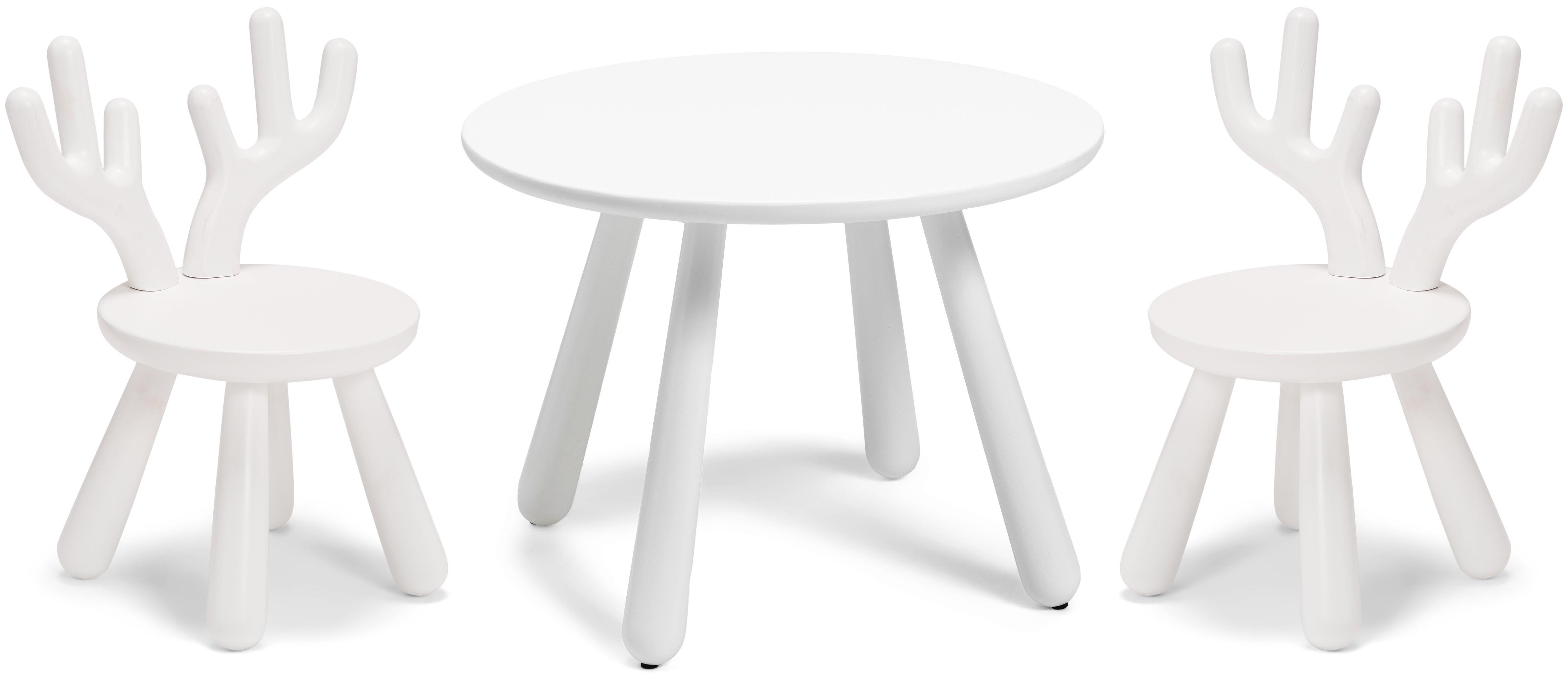 Minitude Nordic Usva Pöytä & Tuolit, Hirvi, Valkoinen