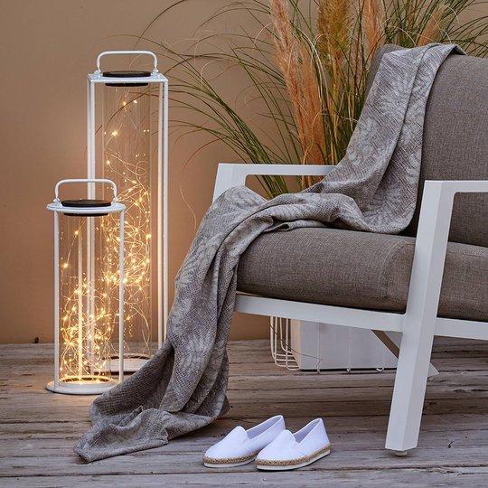 897535 LED-solcelle-gulvlampe 42 cm høy, hvit