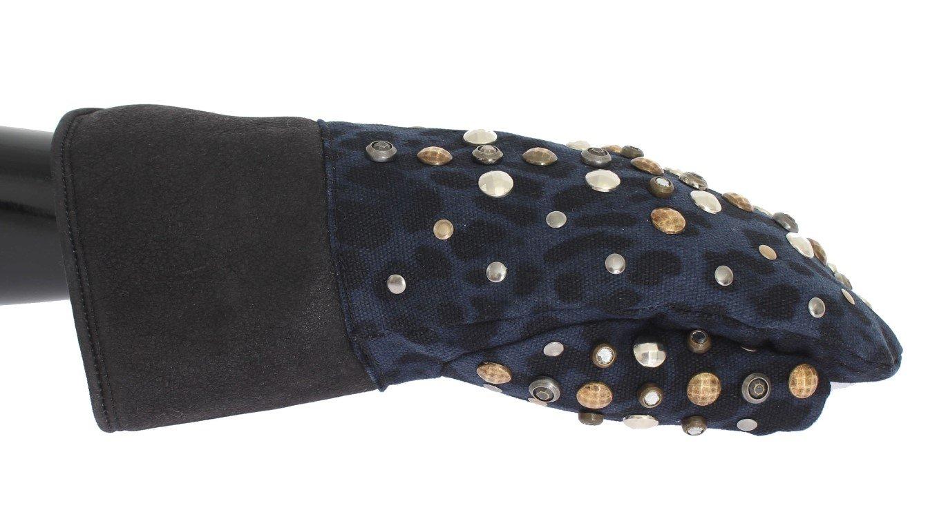 Dolce & Gabbana Men's Wool Shearling Studded Leopard Gloves Gray LB132 - 9|M