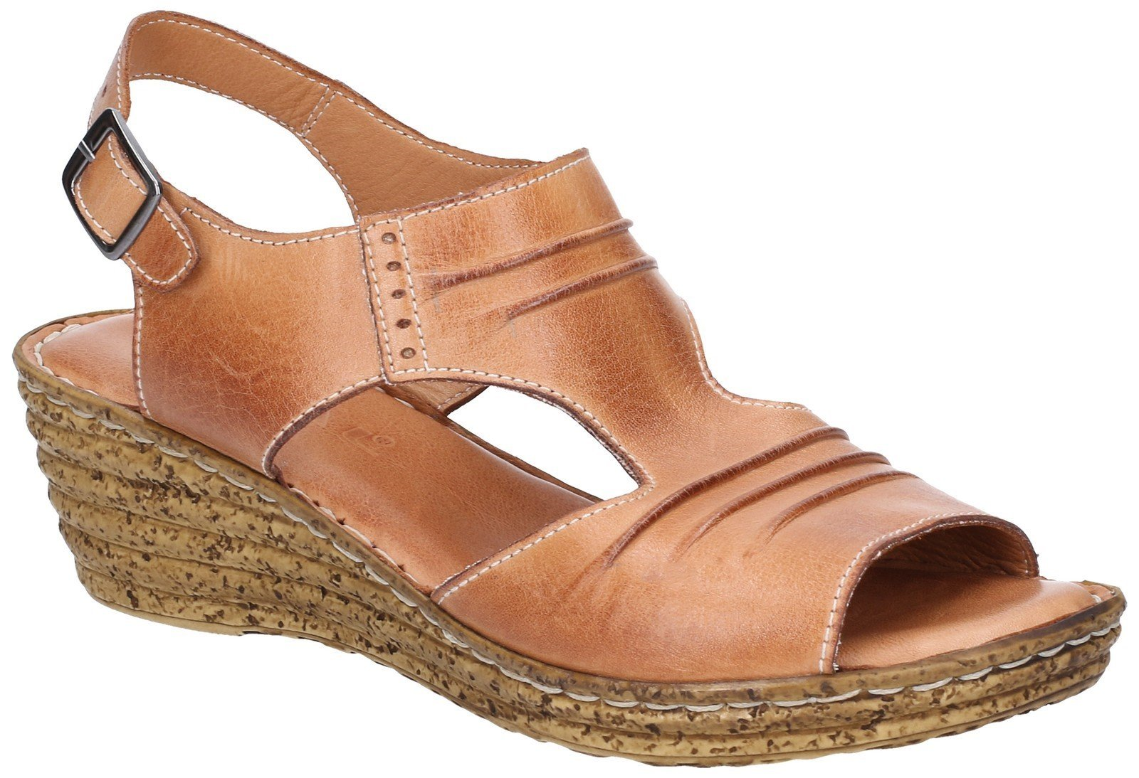 Fleet & Foster Women's Incence Pleated Leather Sandal Various Colours 28272 - Light Brown 3