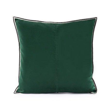 Putevar Dark Green Striped Edge Velvet 50 x 50 cm