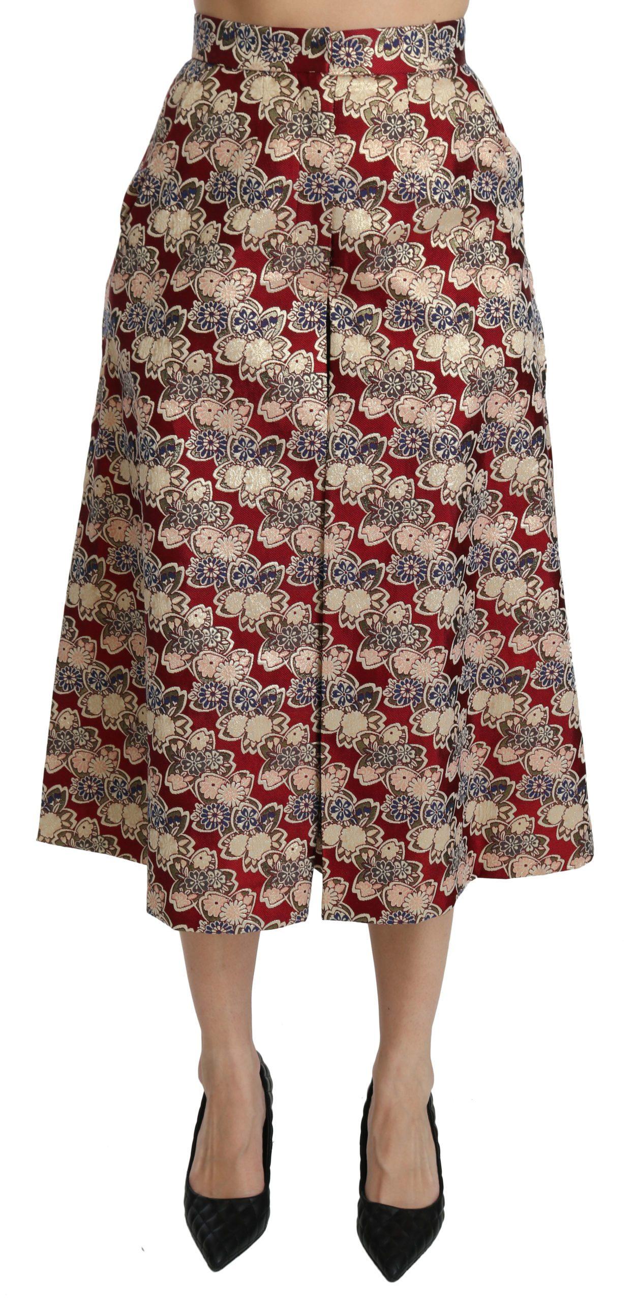 Dolce & Gabbana Women's Brocade High Waist Midi Skirt Beige SKI1341 - IT40|S