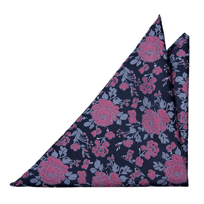Silke Lommetørkler, Mørk marineblå sateng, rosa roser & lyseblå blader