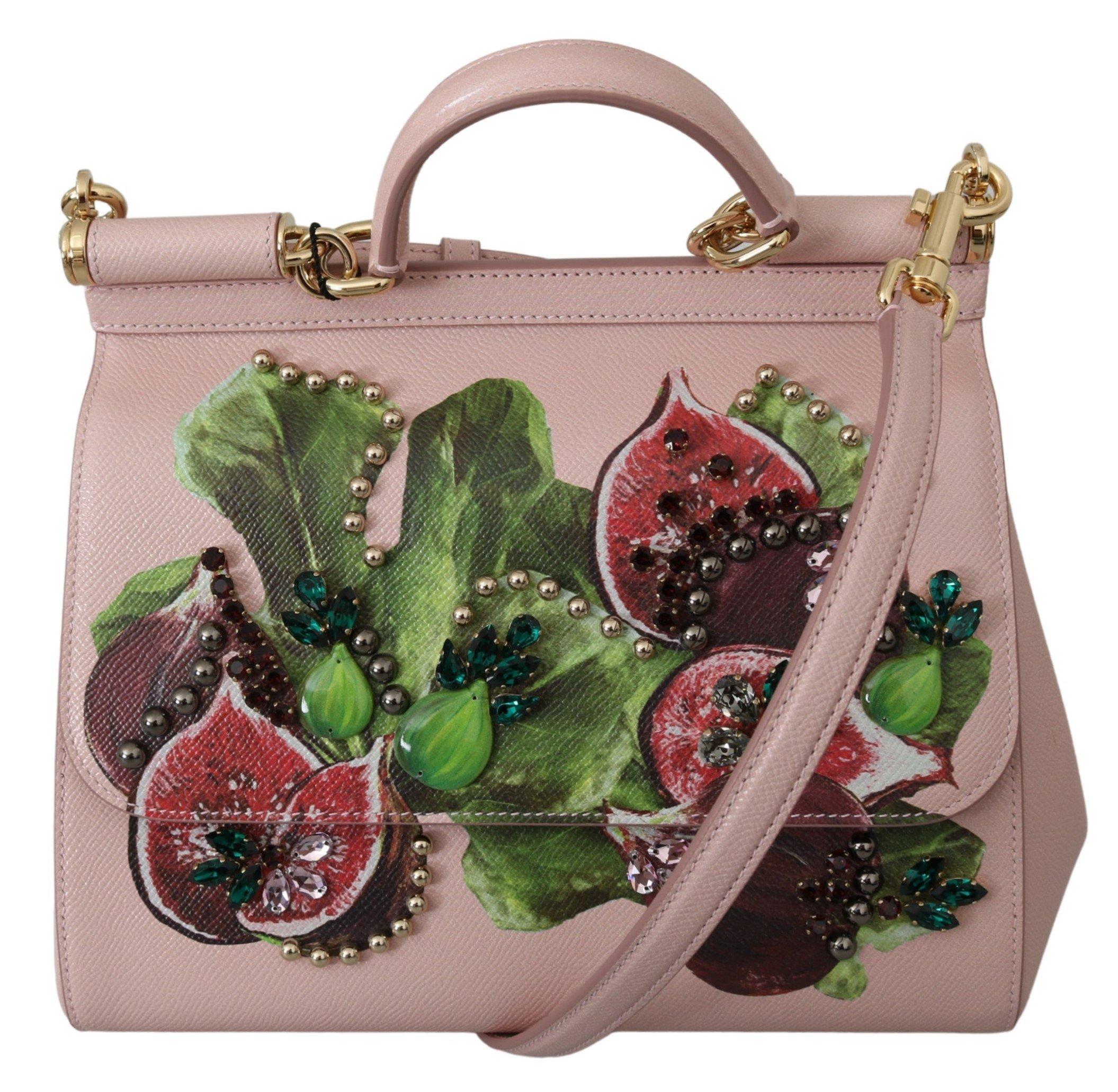 Dolce & Gabbana Women's Fruit Crystal Leather Shoulder Bag Pink VAS9956