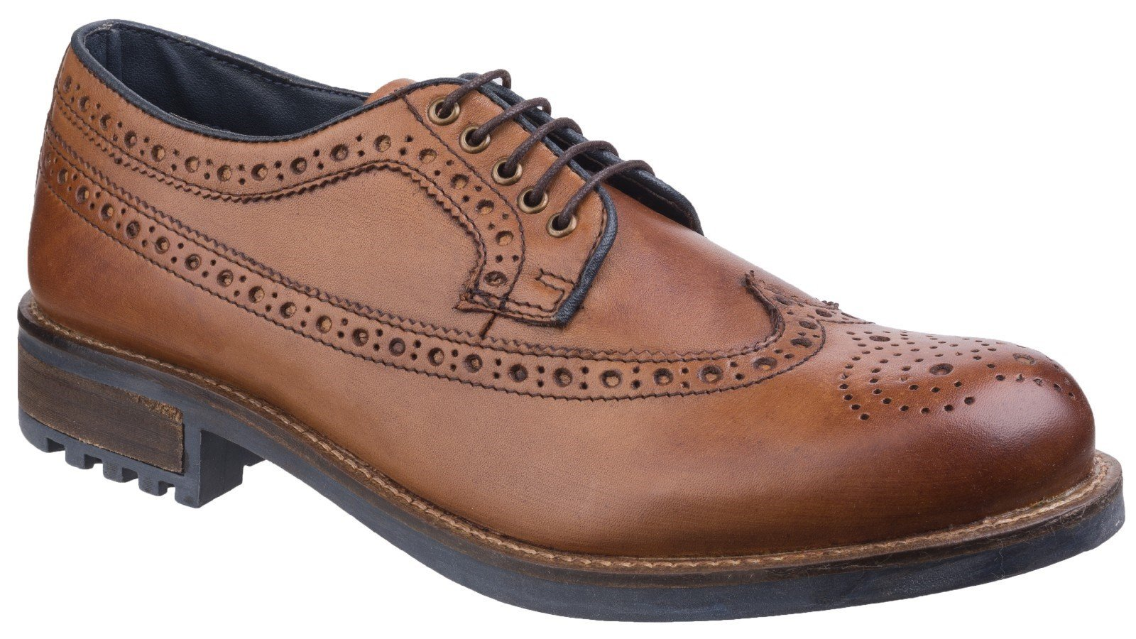 Cotswold Men's Poplar Brogue Dress Shoe Various Colours 25529 - Tan 6