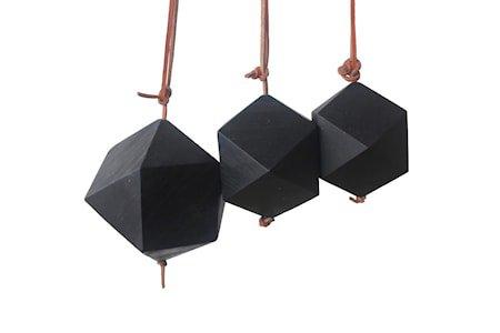 Pynt Diamant 3 st Resirkulert Teak Svart 8 cm
