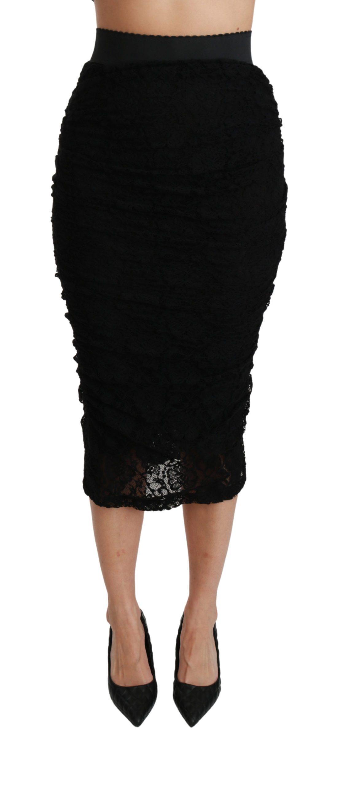 Dolce & Gabbana Women's Lace High Waist Pencil Cut Skirt Black SKI1406 - IT38 XS