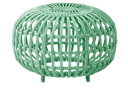 Alu rattan ottoman – Ø65, Mint green
