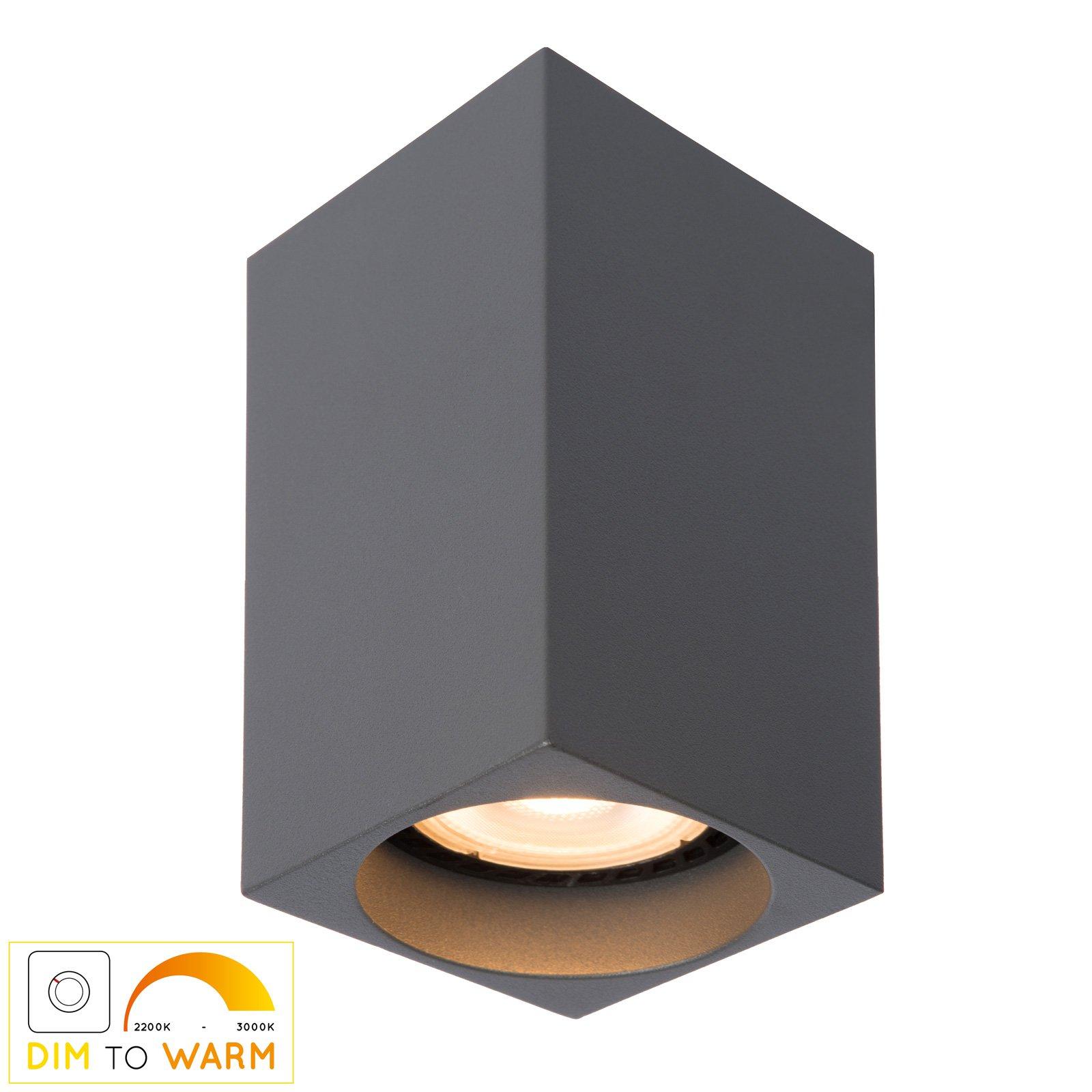 Delto LED-taklampe dim to warm, kantet, grå