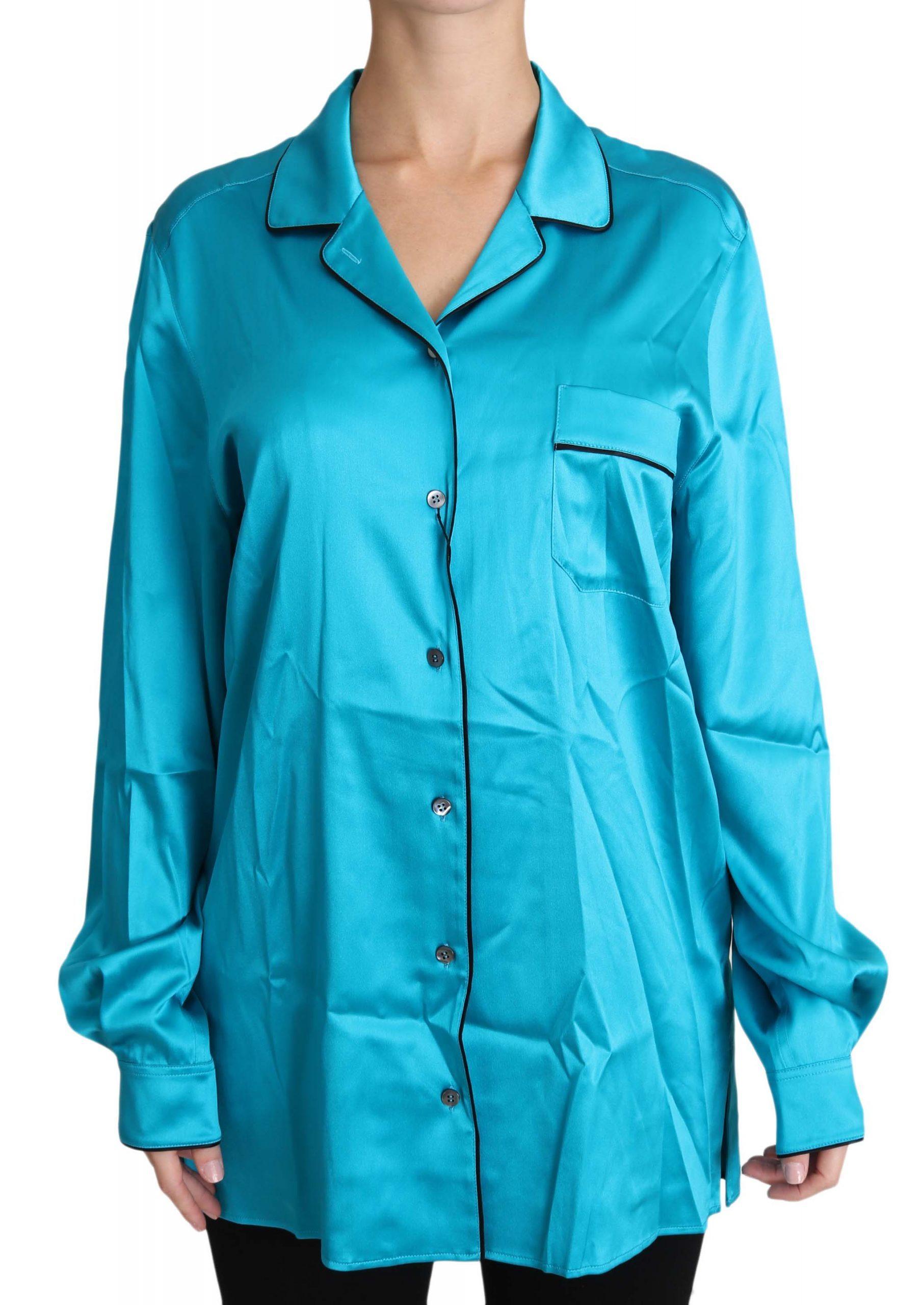 Dolce & Gabbana Women's Stretch Longsleeve Pyjama Shirt Blue TSH3166 - IT46|XL