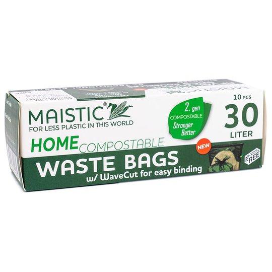 Maistic Komposterbar Avfallspåse med WaveCut - 30 L, 10-pack