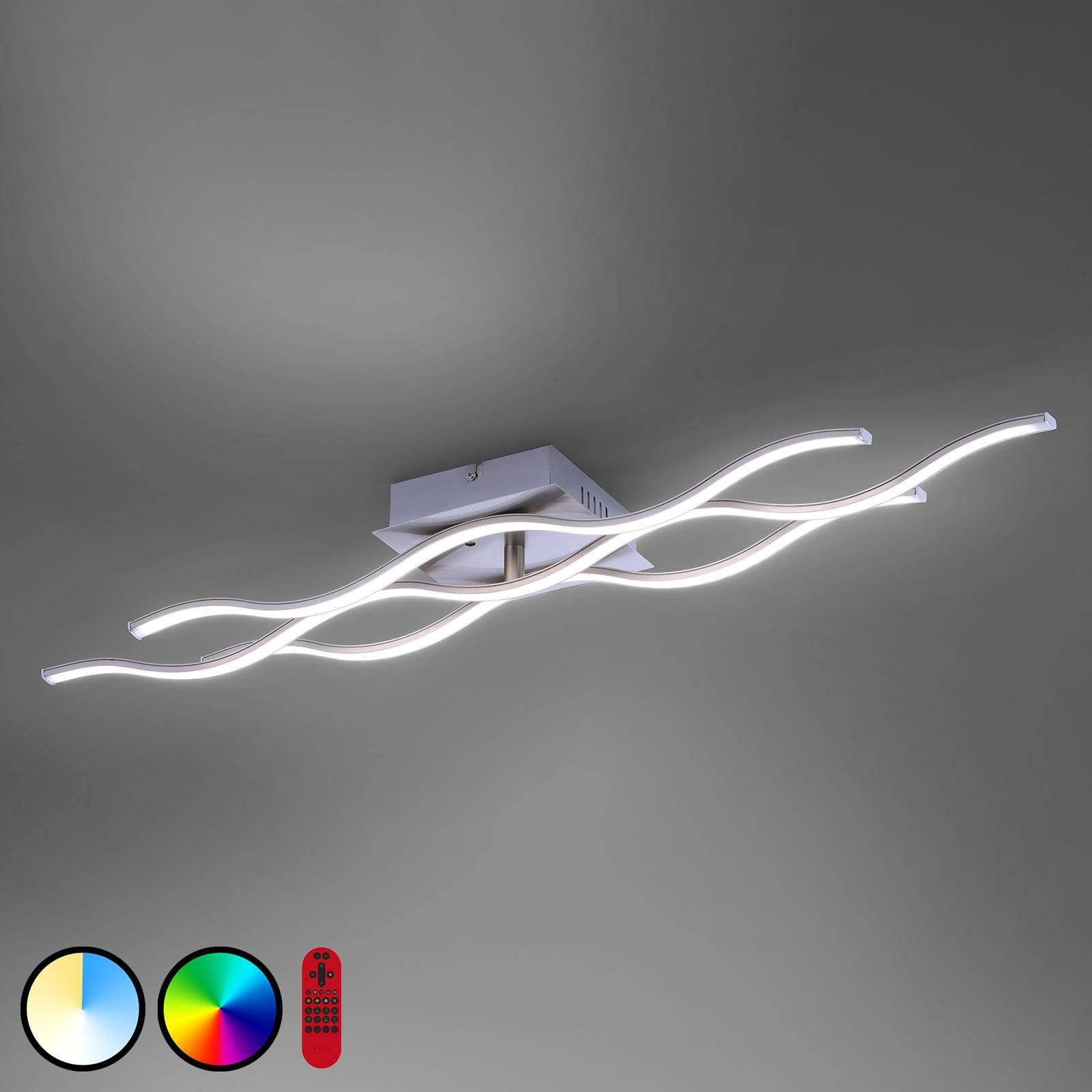 LOLAsmart Wave LED-taklampe 3 lyskilder stål