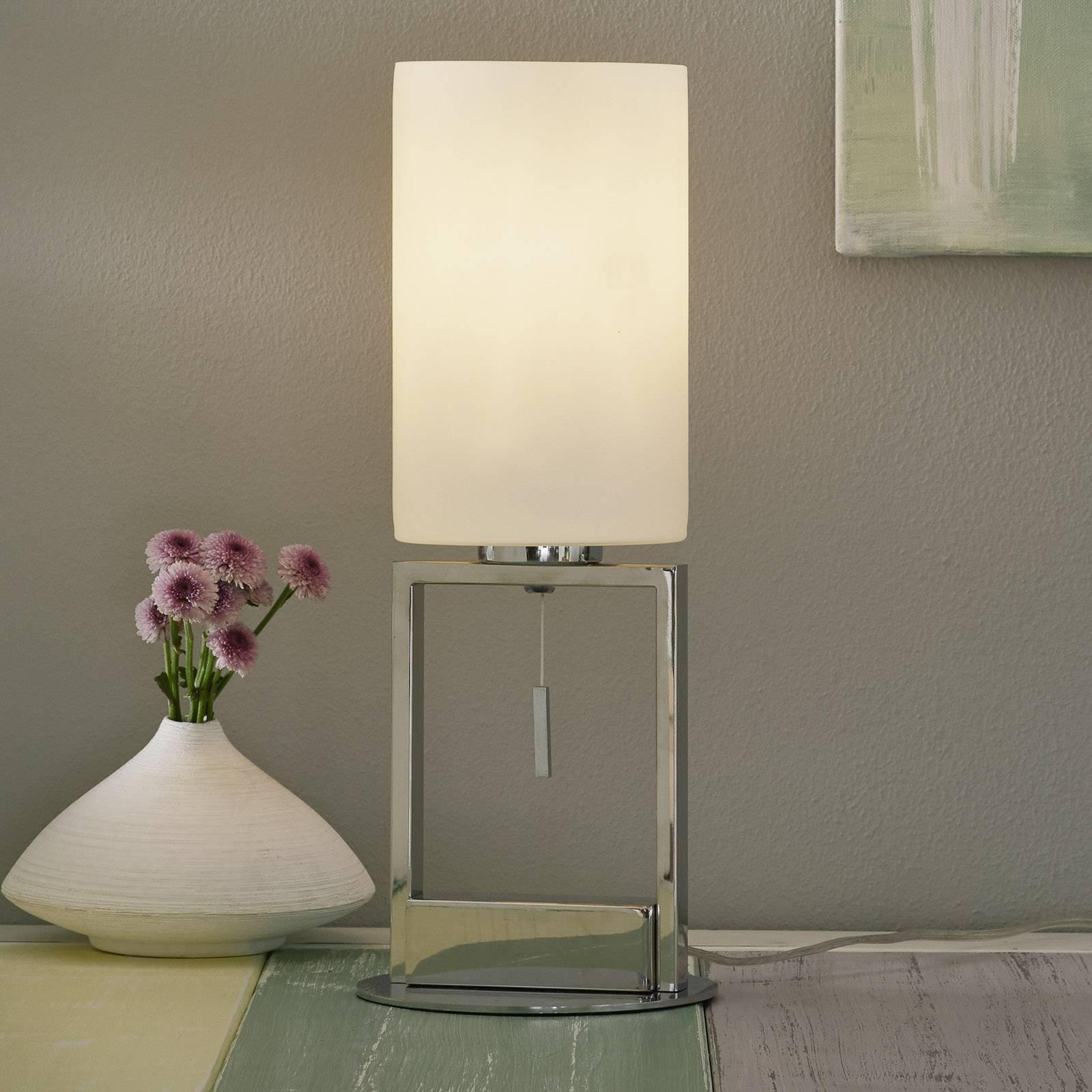 Gulvlampe Fine med glasskjerm og skyvebryter