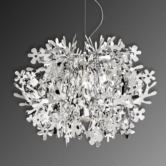 Fiorella - hopeanvärinen design-riippuvalaisin