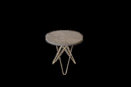 Tall Mini O Table Grå Marmor med Messingramme Ø50