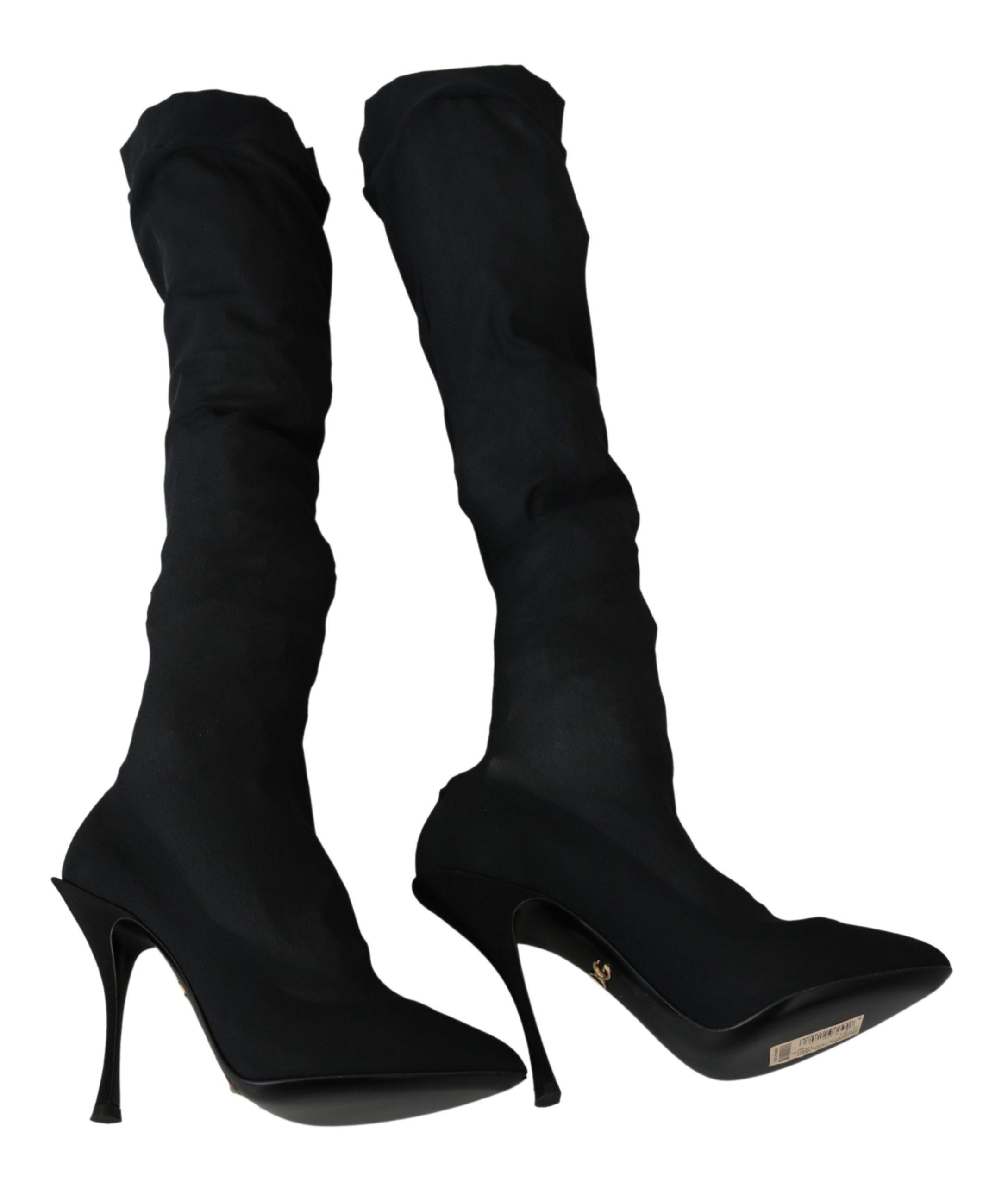 Dolce & Gabbana Women's Tulle Stretch Knee Boots Black LA6916 - EU37/US6.5