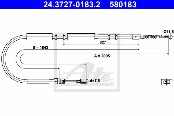 Käsijarruvaijeri ATE 24.3727-0183.2
