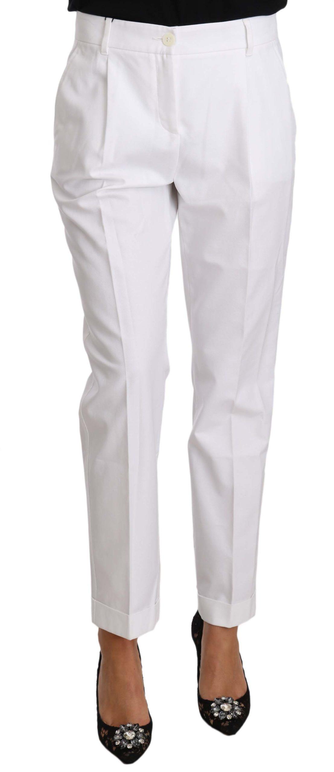 Dolce & Gabbana Women's Cotton Stretch Formal Trouser White PAN70266 - IT40 S