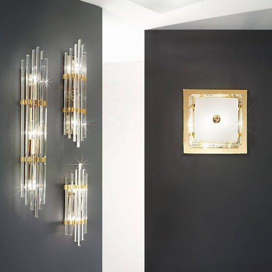Vegglampe Ontario, høyde 31 cm, gull, kvadratisk