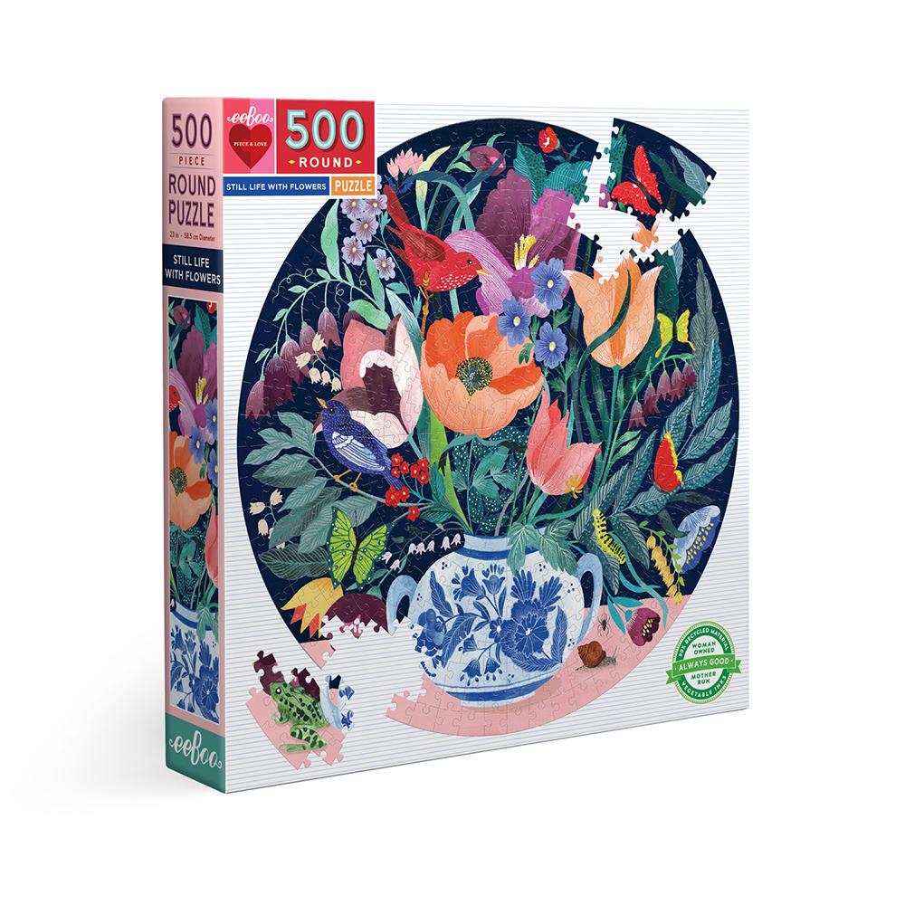 eeBoo - Round puzzle, 500 pcs - Still Life with Flowers (EPZFSLF)