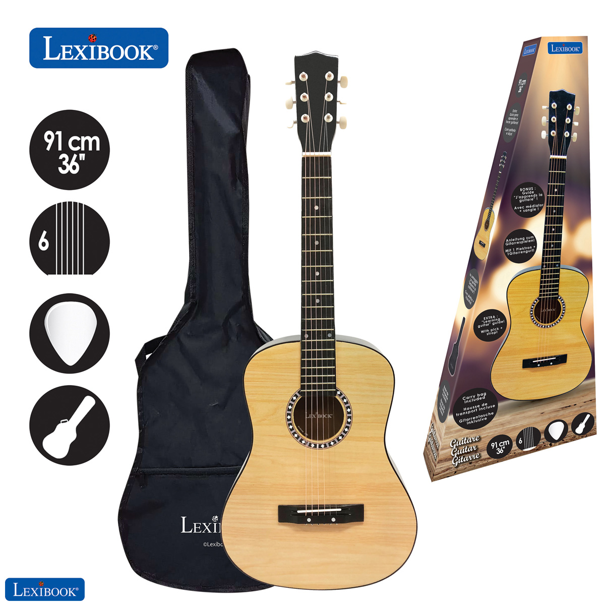 Lexibook - Wooden Acoustic Guitar - 36'' with carry bag (K2200)